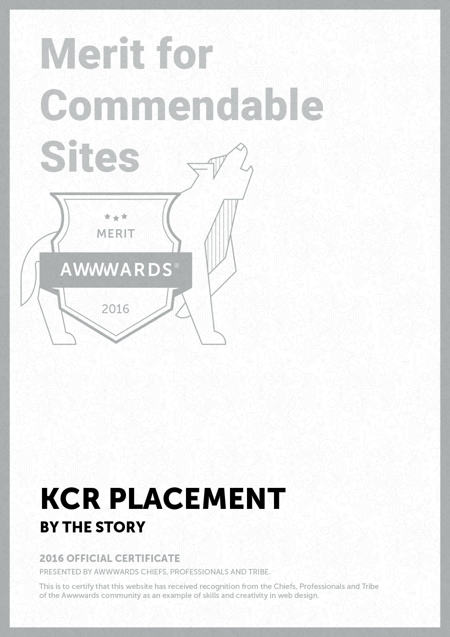 Awwwards for website of KCR Placement