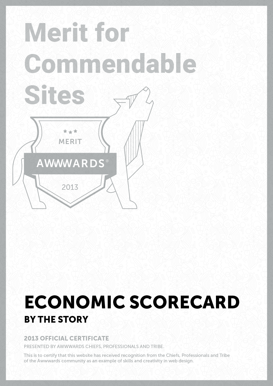 Awwwards for website of PwC (Economic Scorecard)