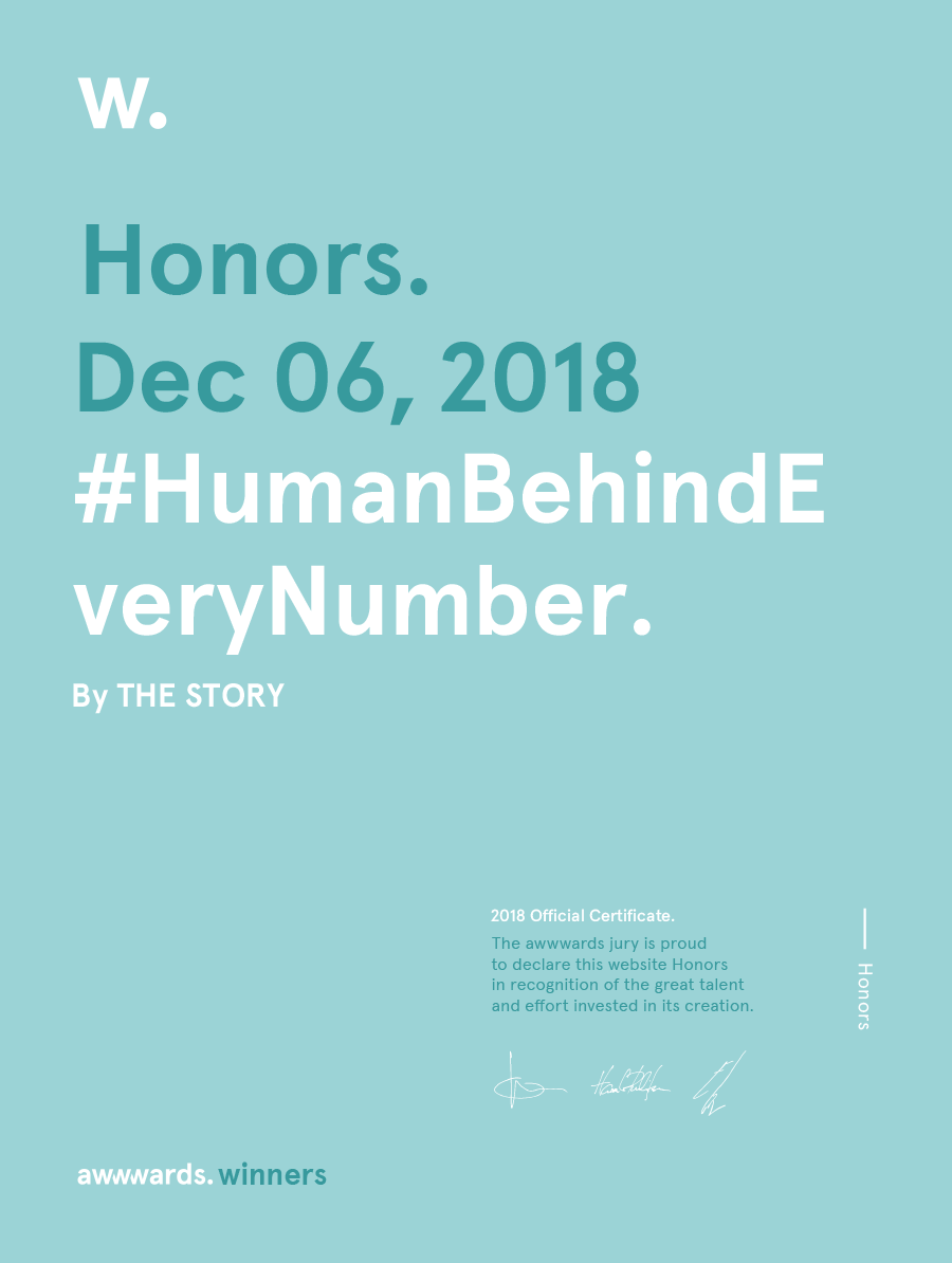Awwwards for website Human Behind Every Number