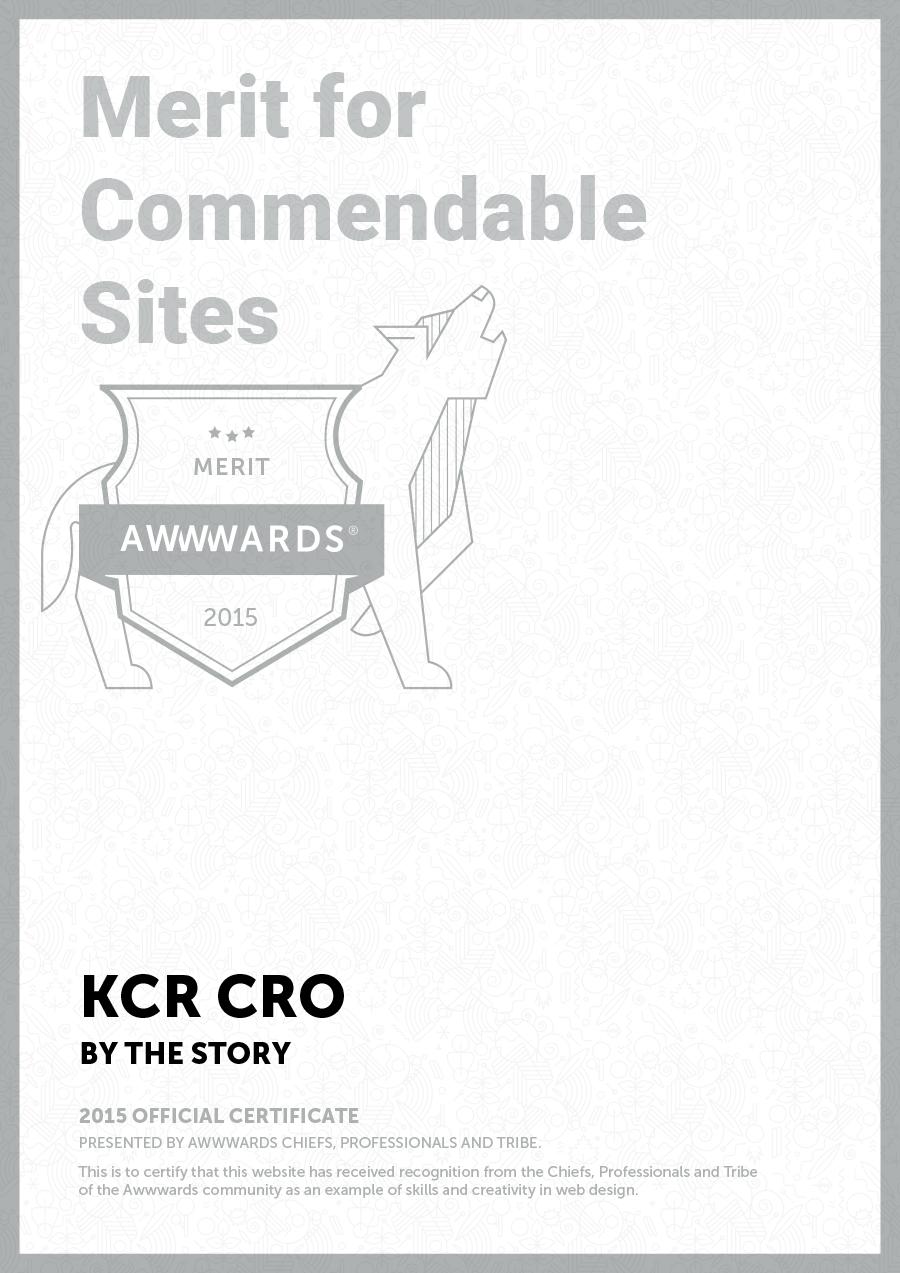 Awwwards for website of KCR CRO