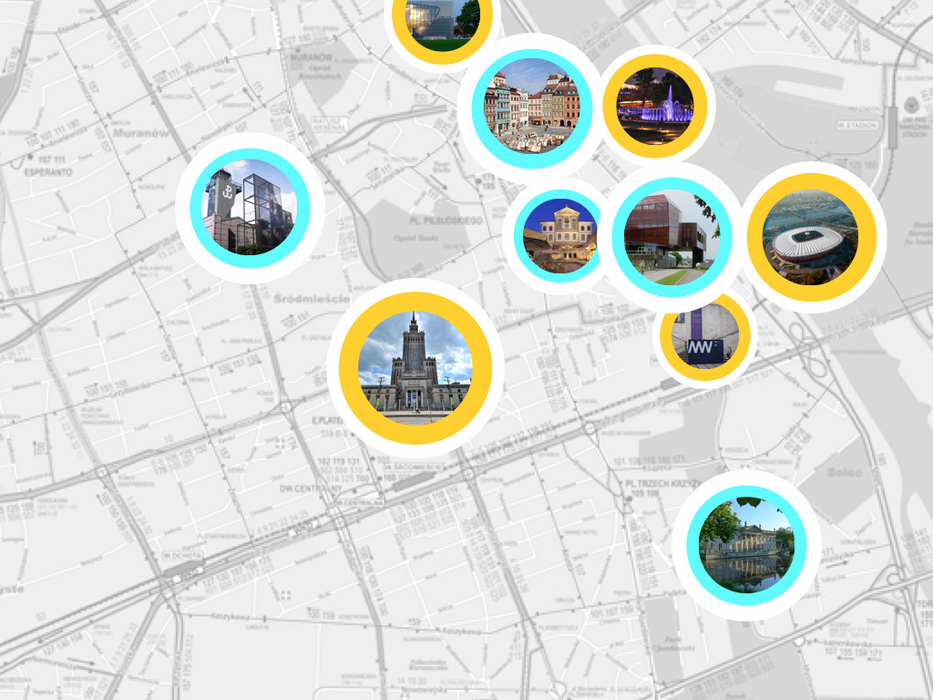 map of Warsaw attractions tested during the ux research