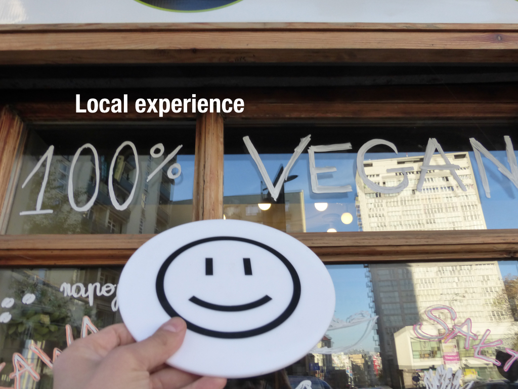 tourist experience - positive emoticon at the vegan restaurant