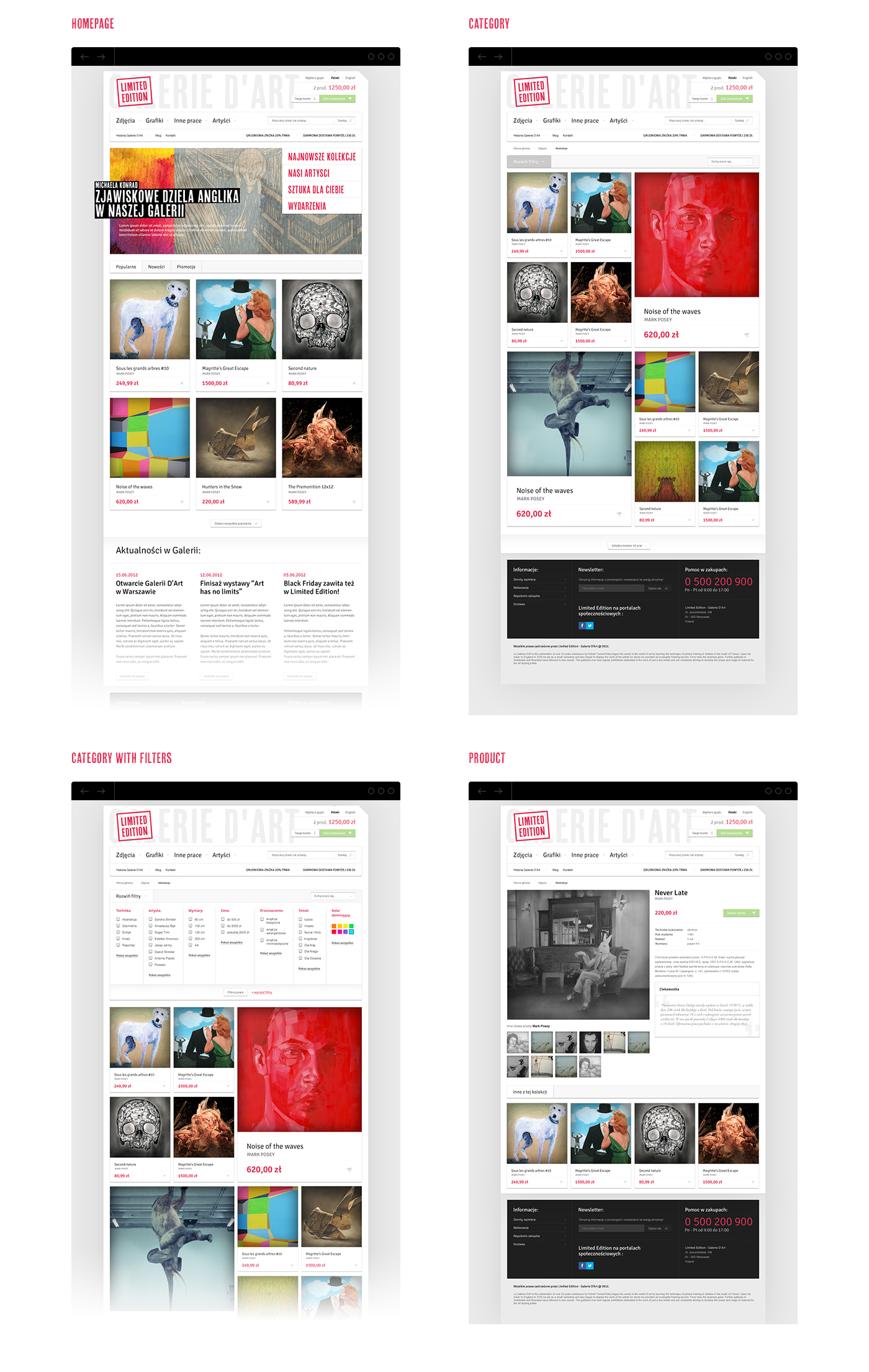 Presentation of subpages of the online store for the Limited Edition art gallery