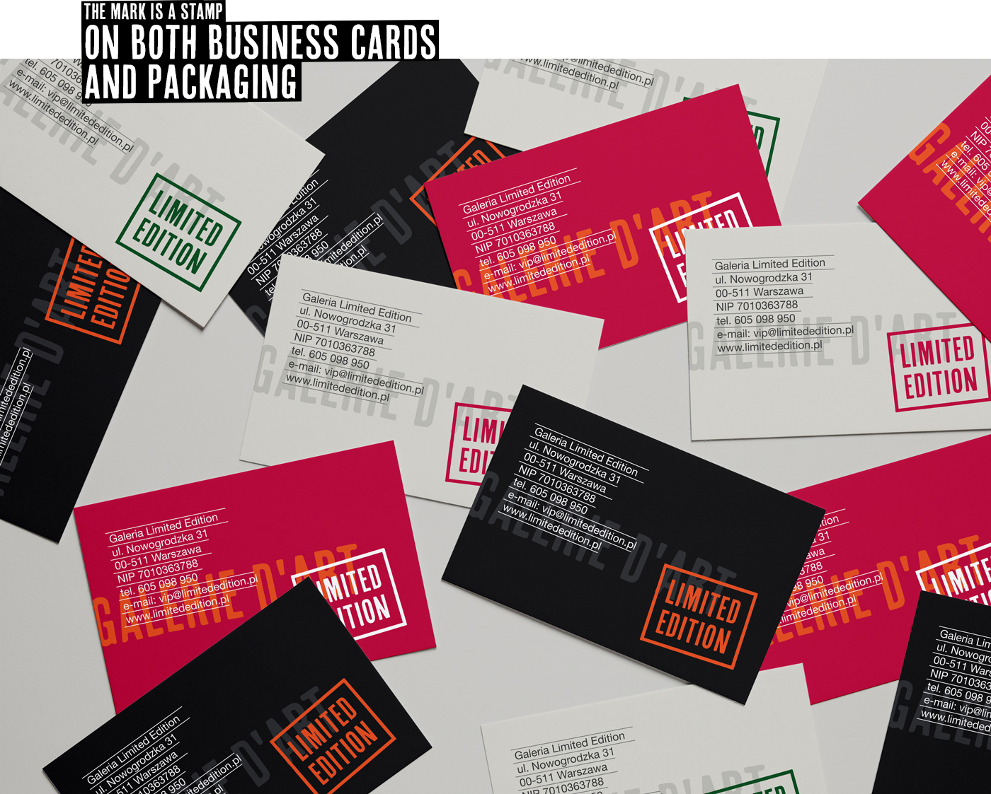 Media with a new visual identity for the Limited Edition art gallery - a business card