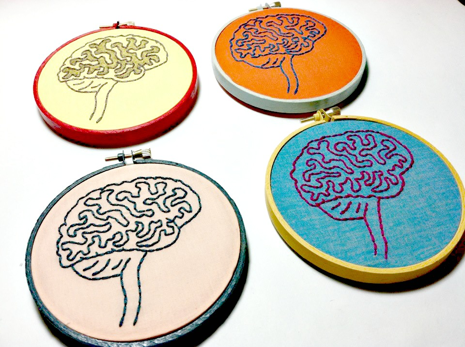 Hoops with embroidery of the brain