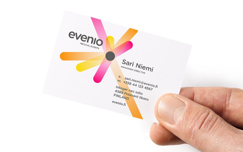 wizytówka firmy evenio oparta o koncepcję promieni