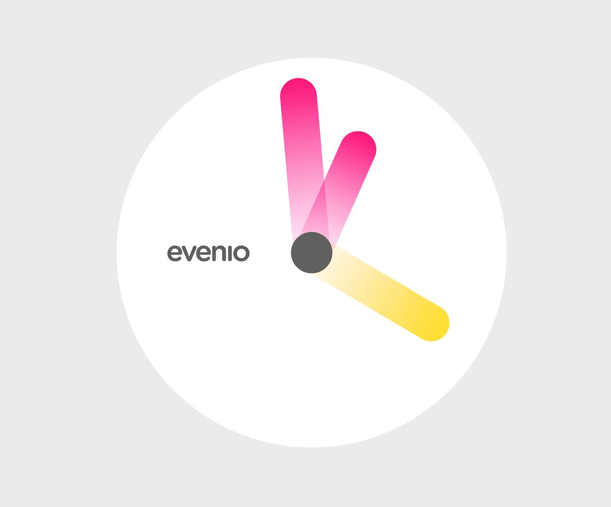 wizualizacja zegara opartego o ideę dla logo evenio przedstawiającego promienie rozchodzące się w różne strony