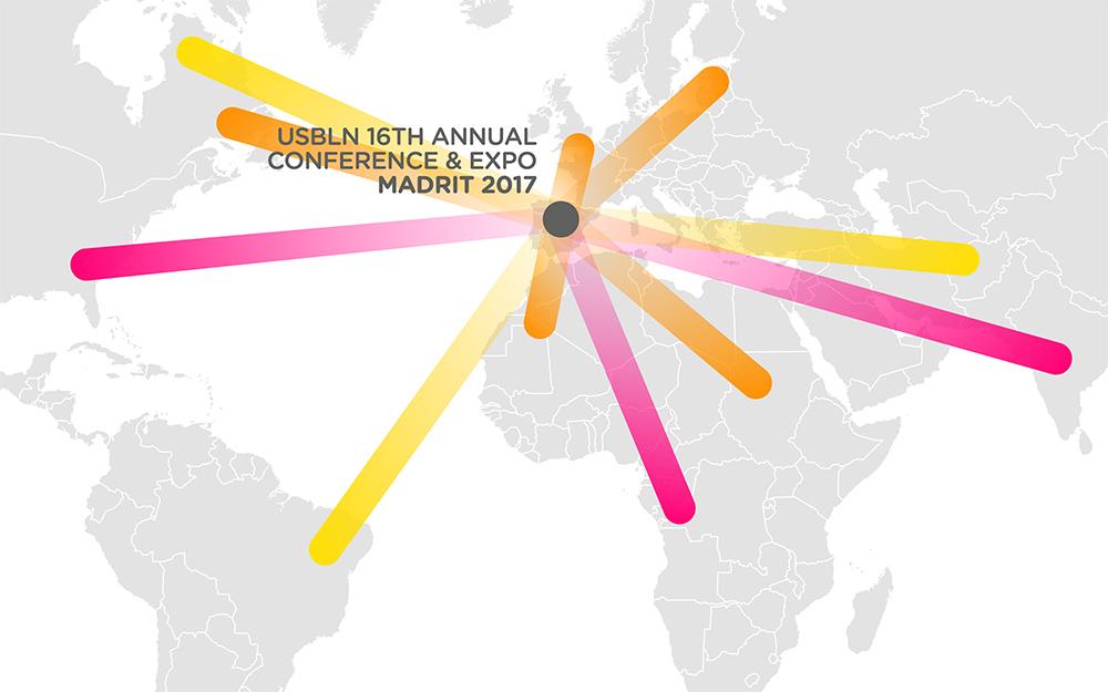 logo evenio składa się z promieni, które łączą miejsca spotkań w różnych miastach na mapie świata
