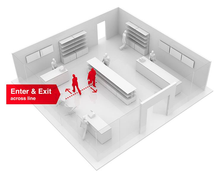 wizualizacja zachowań klientów w sklepach stacjonarnych - przekroczenie linii strefy sklepu
