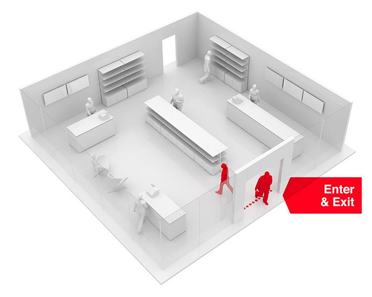 wizualizacja zachowań klientów w sklepach stacjonarnych - przekroczenie linii wejścia do sklepu