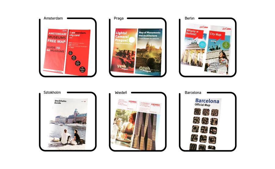ulotki dla turystów miast - Amsterdam, Praga, Berlin, Sztokholm, Wiedeń, Barcelona