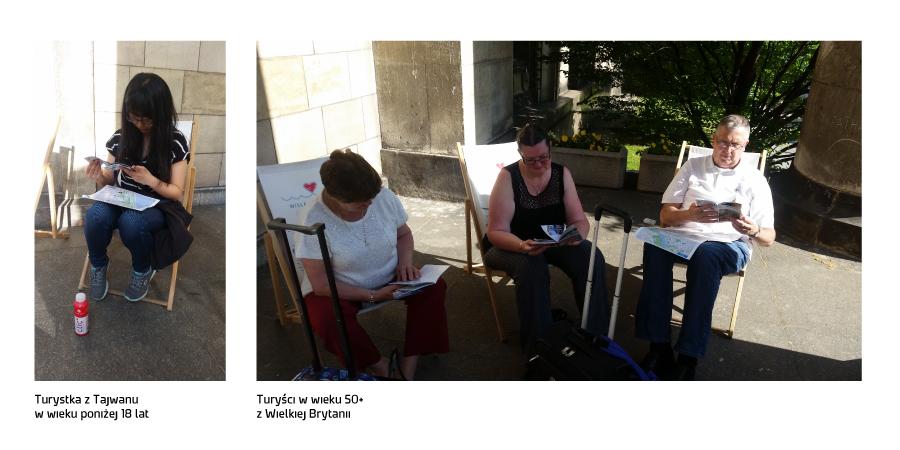 turystka z Tajwanu i turyści z Wielkiej Brytanii oglądają materiały promocyjne Warszawy