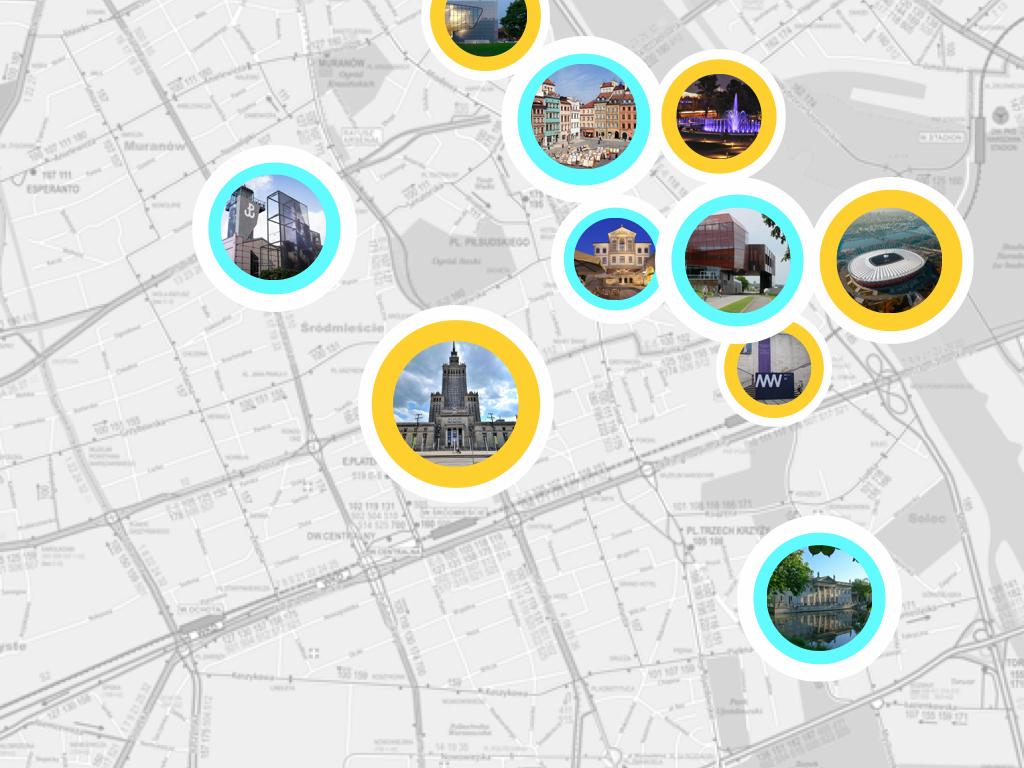 mapa atrakcji Warszawy