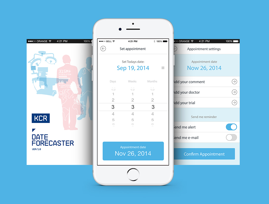 widok aplikacji mobilnej KCR Date Forecaster