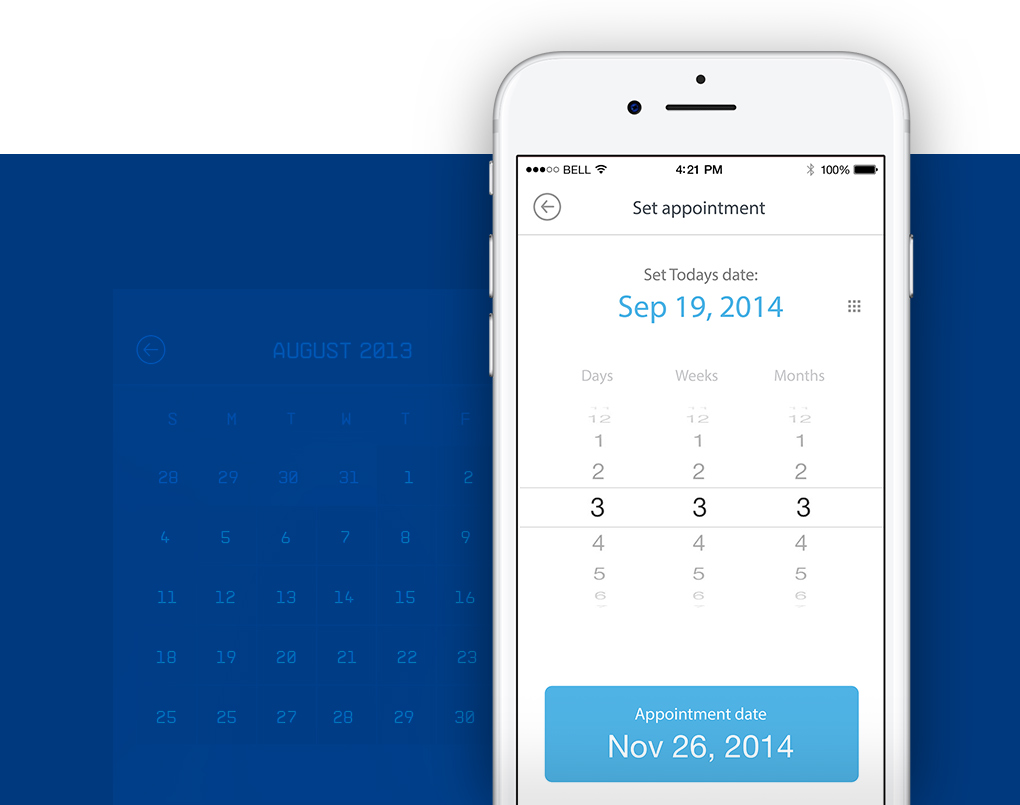 widok kalendarza aplikacji mobilnej KCR Date Forecaster