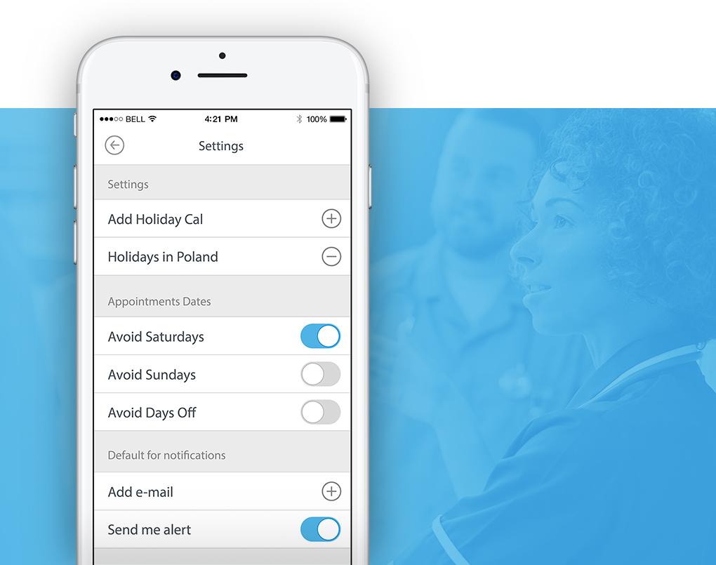 widok ustawień aplikacji mobilnej KCR Date Forecaster