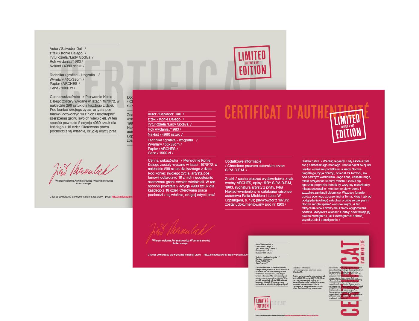 Identyfikacja wizualna dla galerii sztuki Limited Edition - certyfikat dołączany do sprzedanego obrazu