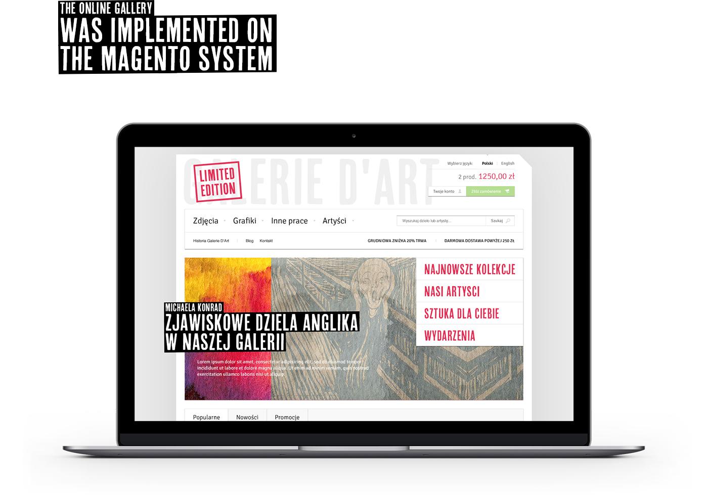 Prezentacja strony głównej strony internetowej galerii sztuki Limited Edition