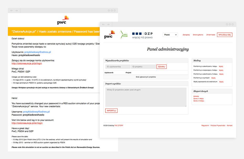 widok panelu użytkownika do komunikacji z uczestnikami aukcji oraz powiadomień mailowych