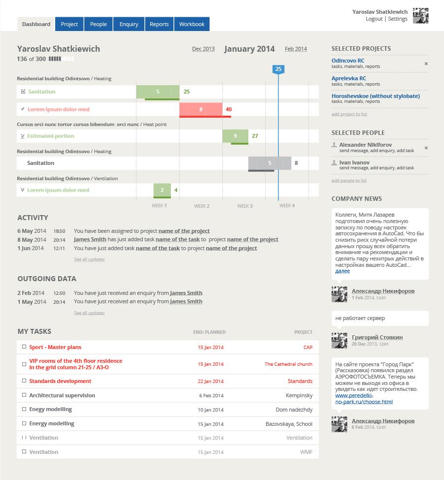 dashboard interfejsu aplikacji webowej Engex Workbook