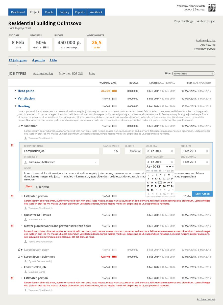 dashboard ekranu zarządzania projektem w aplikacji webowej Engex Workbook