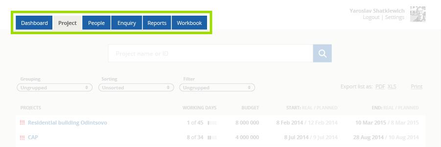 nawigacja w aplikacji webowej Engex Workbook