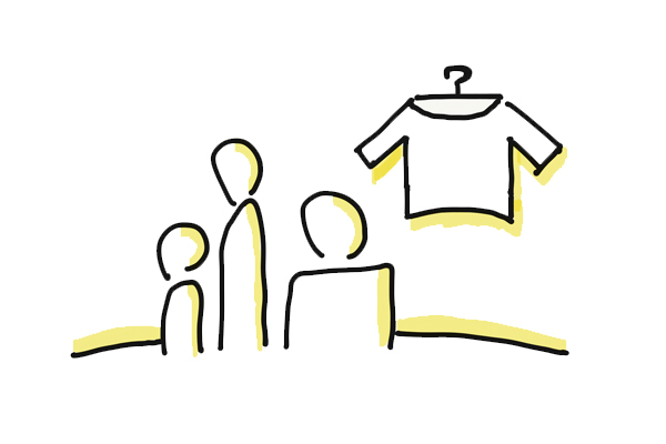 rysunek klientów oglądającyh ubranie w sklepie