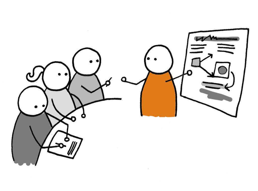 rysunek osoby prezentującej przed zespołem