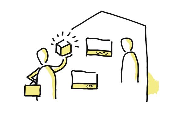 rysunek sprzedawcy oferującego usługi cyfrowe klientowi