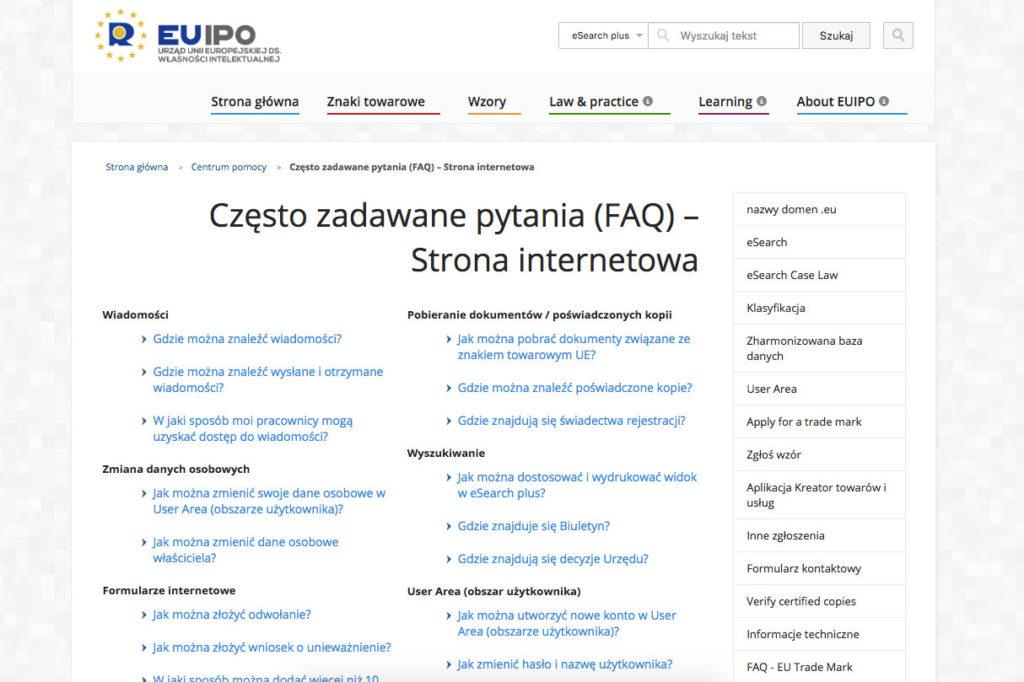 Sekcja FAQ na przykładzie podstrony Urzędu unii Europejskiej do spraw własności intelektualnej