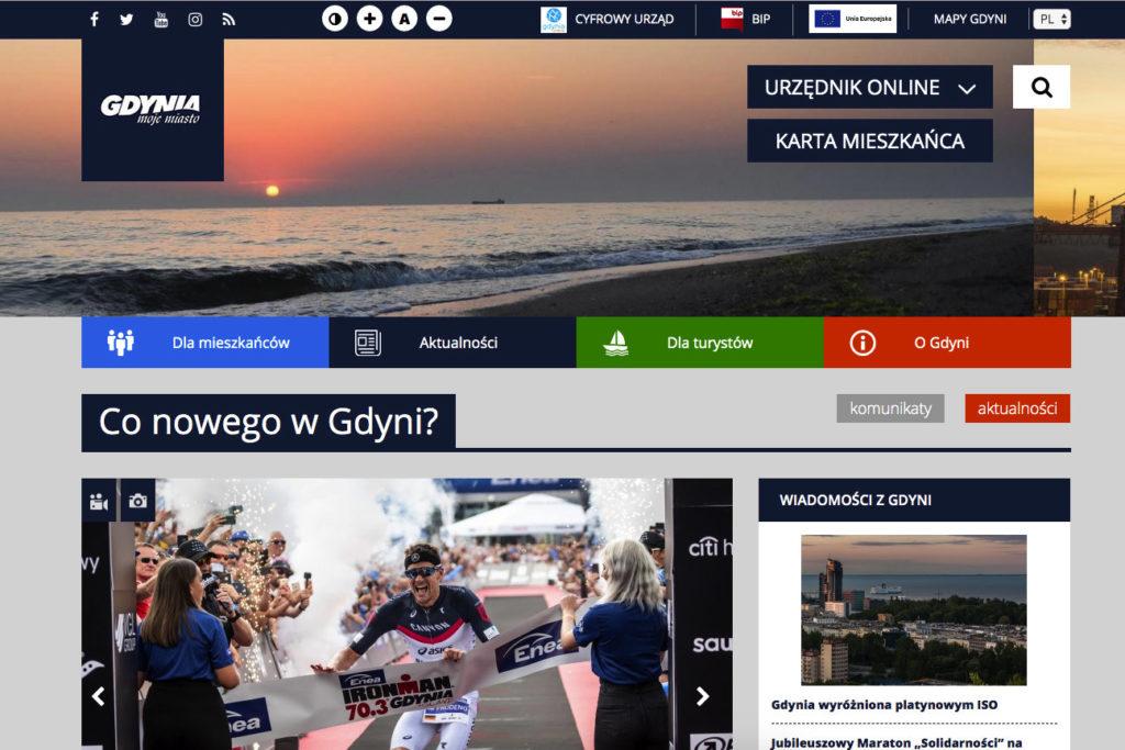 Strona inernetowa miasta Gdynia z udogodnieniami dla osób niewidomych i niedowidzących