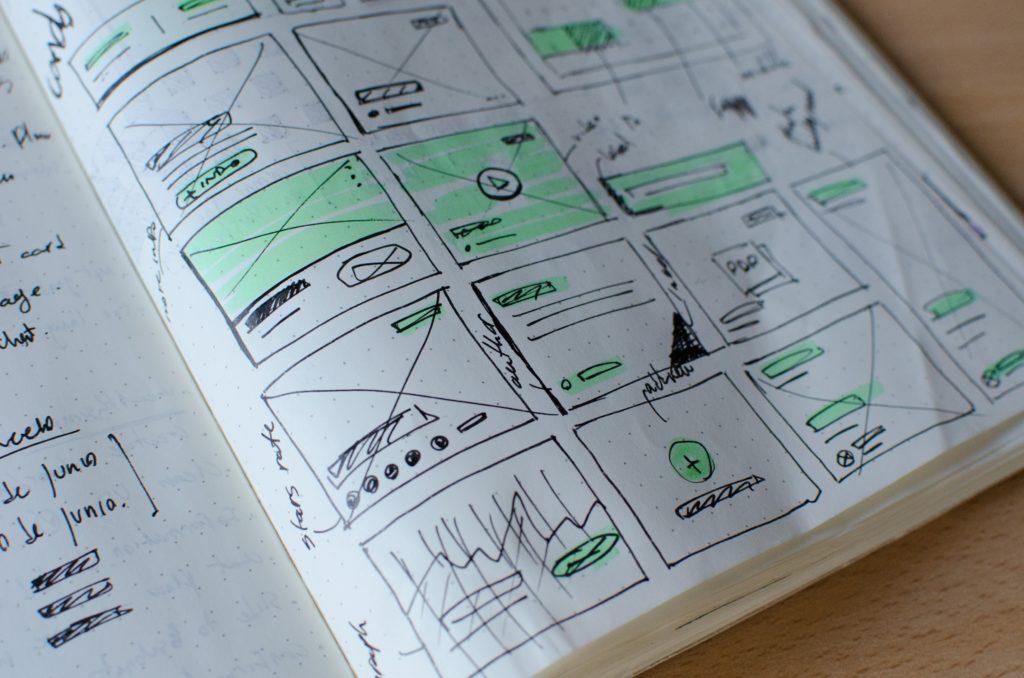wireframe - odręczny szkic wireframe zrobiiony w notesie