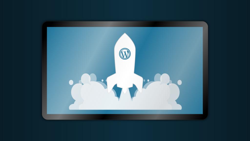 ilustracja startującej rakiety z logo wordpress