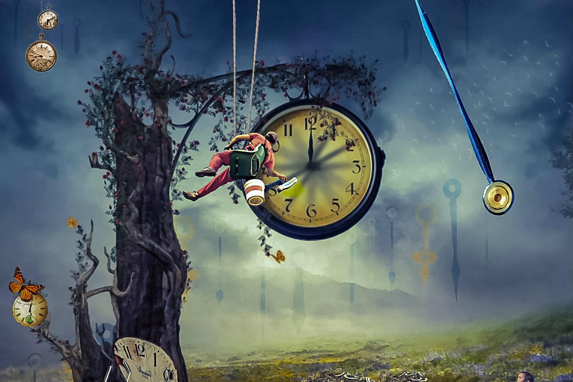 bajkowa ilustracja z drzewem i zegarem peronowym, które jest malowane przez mężczyznę na huśtawce