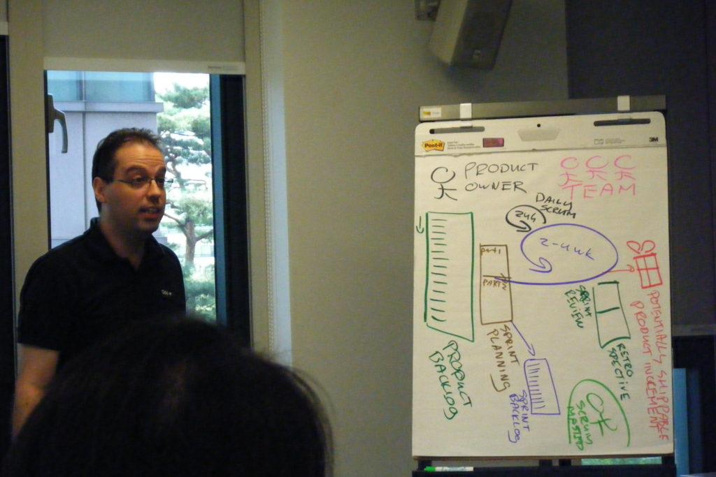 Scrum master przedstawiający proces na tablicy flipchart
