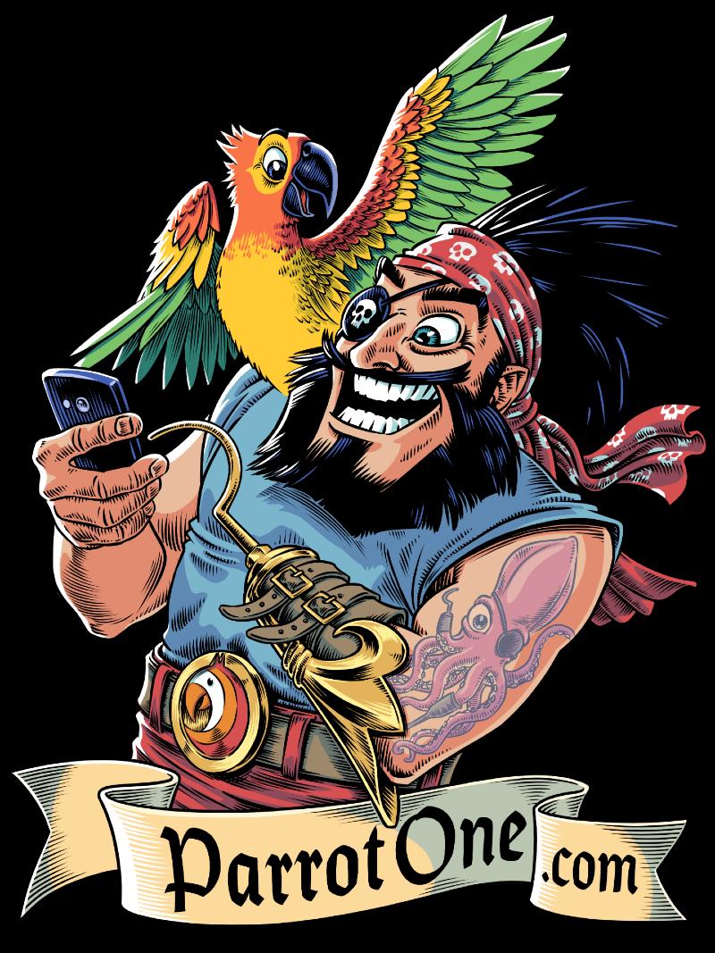 Symbolem aplikacji ParrotOne jest pirat z papugą.