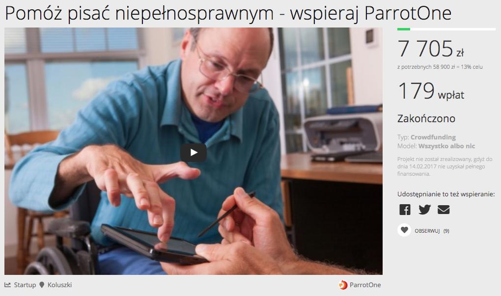 Aplikacja ParrotOne była początkowo kierowana tylko do niepełnosprawnych.