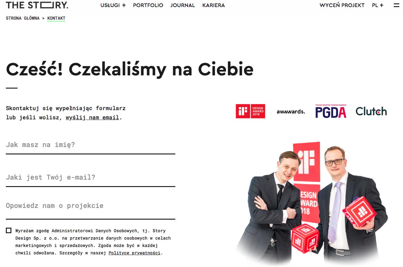 Strona kontaktowa The Story po polsku.