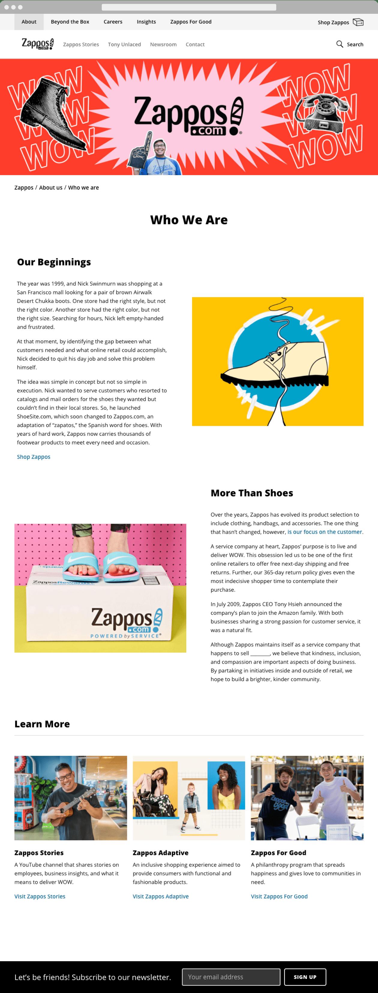 Firma Zappos na podstronie O nas buduje wizerunek kumpla