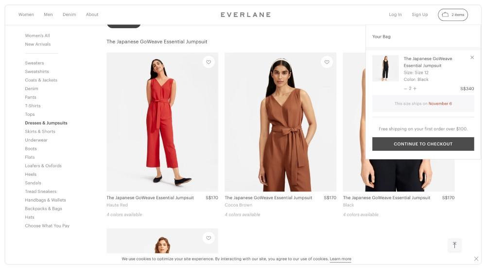 Sklep internetowy Everlane sprzedaje damskie ubrania