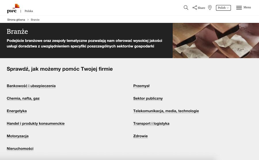 Prezentacja usług PwC na stronie internetowej