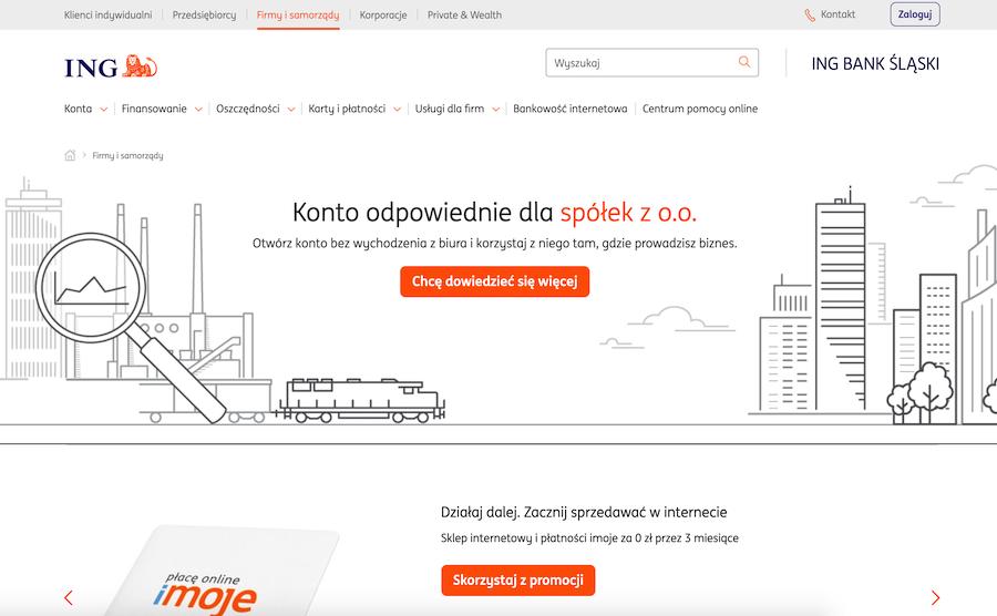 Widok strony ING dla Firmy