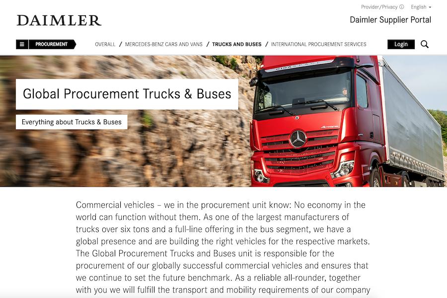 Strony firmy DAIMLER skierowanej do klientów B2B. Zawiera zdjęcia i opisy produktów.