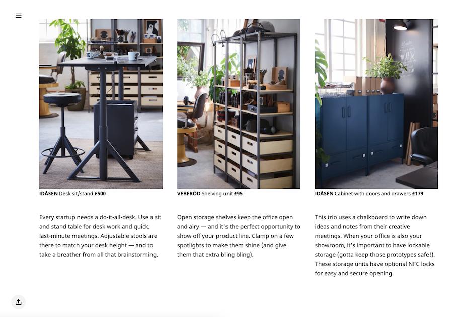 Strony firmy IKEA adresowany do klientów B2B. Zawiera zdjęcia i opisy produktów.
