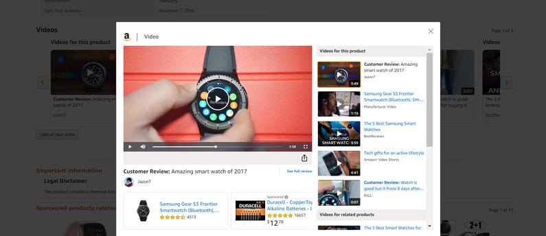 Sklep Amazon.com, wideo karta produktu