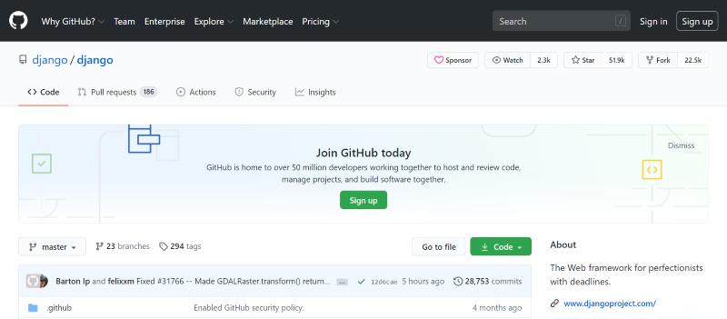 GitHub.com przykład repozytorium kodu. Framework Django
