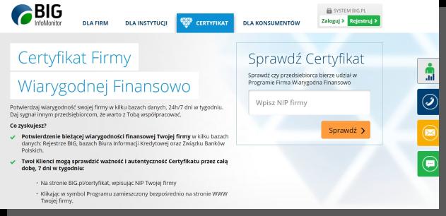 wiarygodna strona internetowa - certyfikat