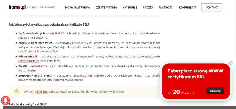 certyfikat ssl - wiarygodność strony internetowej