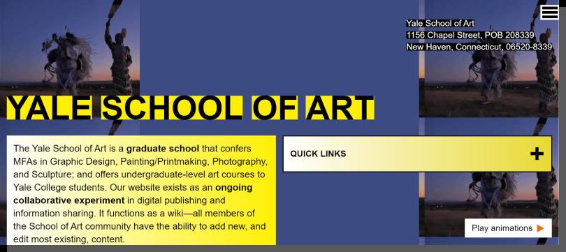 yale school of art - przykład designu