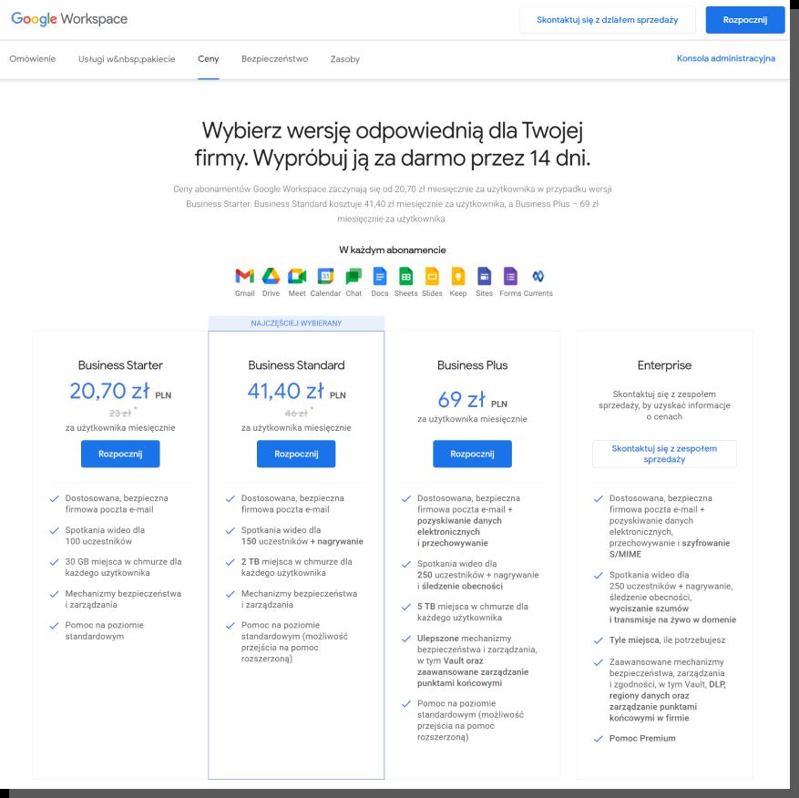 cennik na stronie b2b google